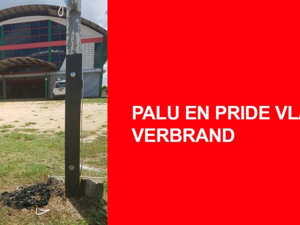 PALU EN PRIDE VLAG VERBRAND